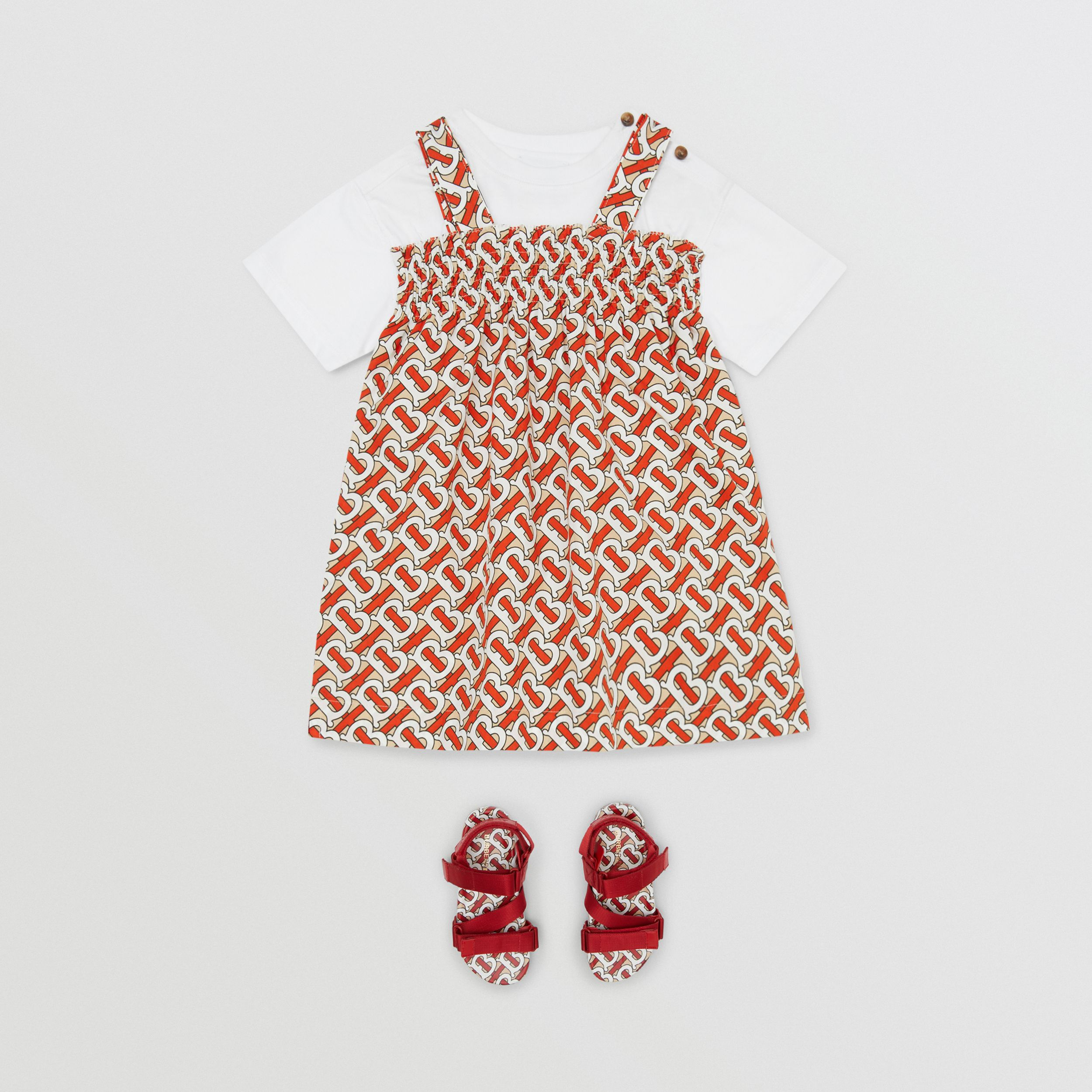 Smocked Monogram Print Cotton Poplin Dress in Vermilion Red - Children | Burberry - 3