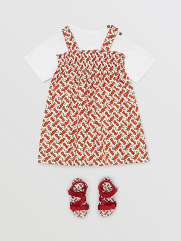 Smocked Monogram Print Cotton Poplin Dress in Vermilion Red - Children | Burberry - cell image 2