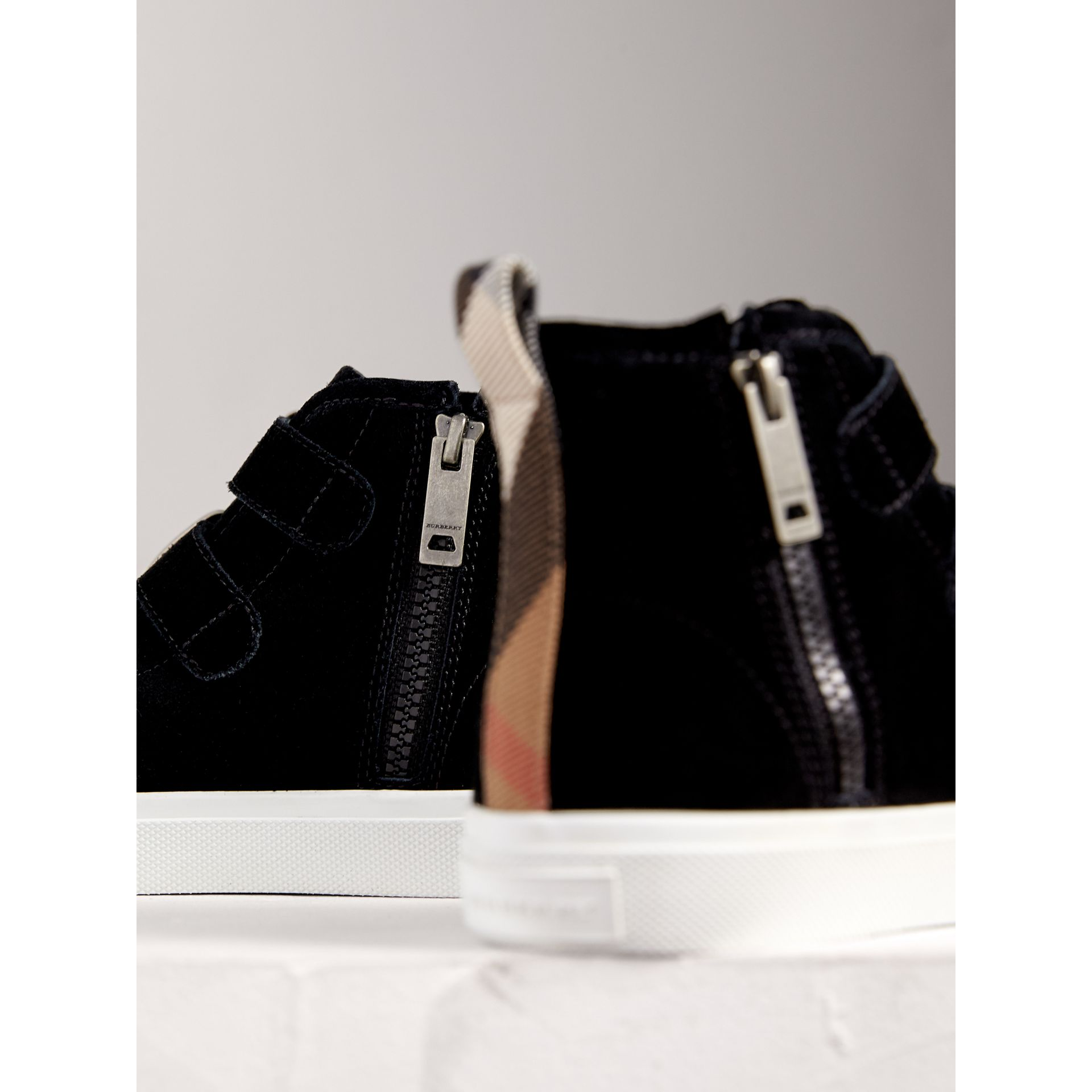 Buckle Detail Suede High-top Trainers in Black | Burberry - gallery image 2