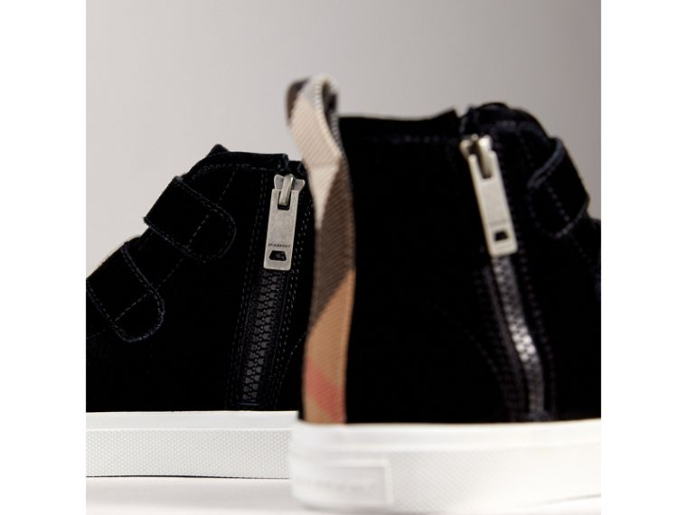 Buckle Detail Suede High-top Trainers in Black | Burberry - cell image 1