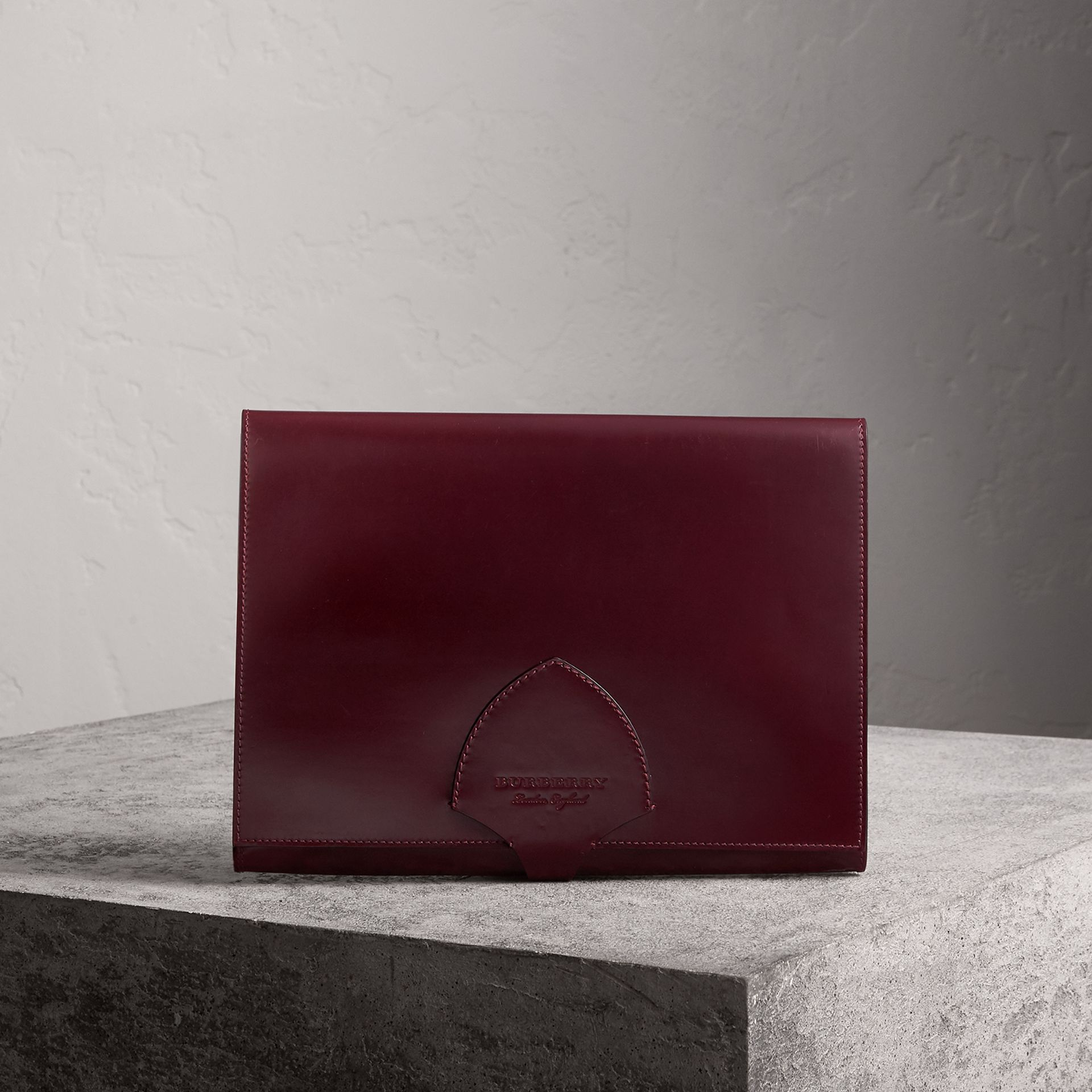 Equestrian Shield Leather A4 Document Case in Deep Claret - Men | Burberry - gallery image 0
