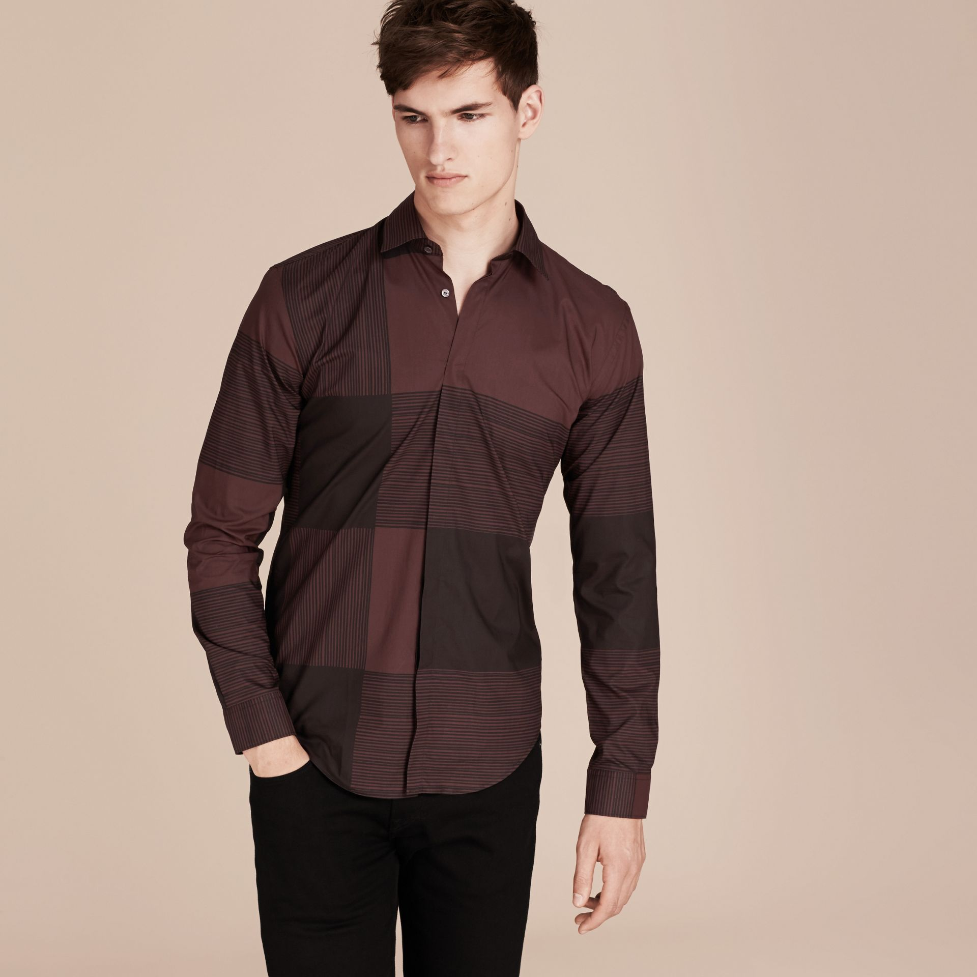 Burgundy Check Cotton Shirt Burgundy - gallery image 6