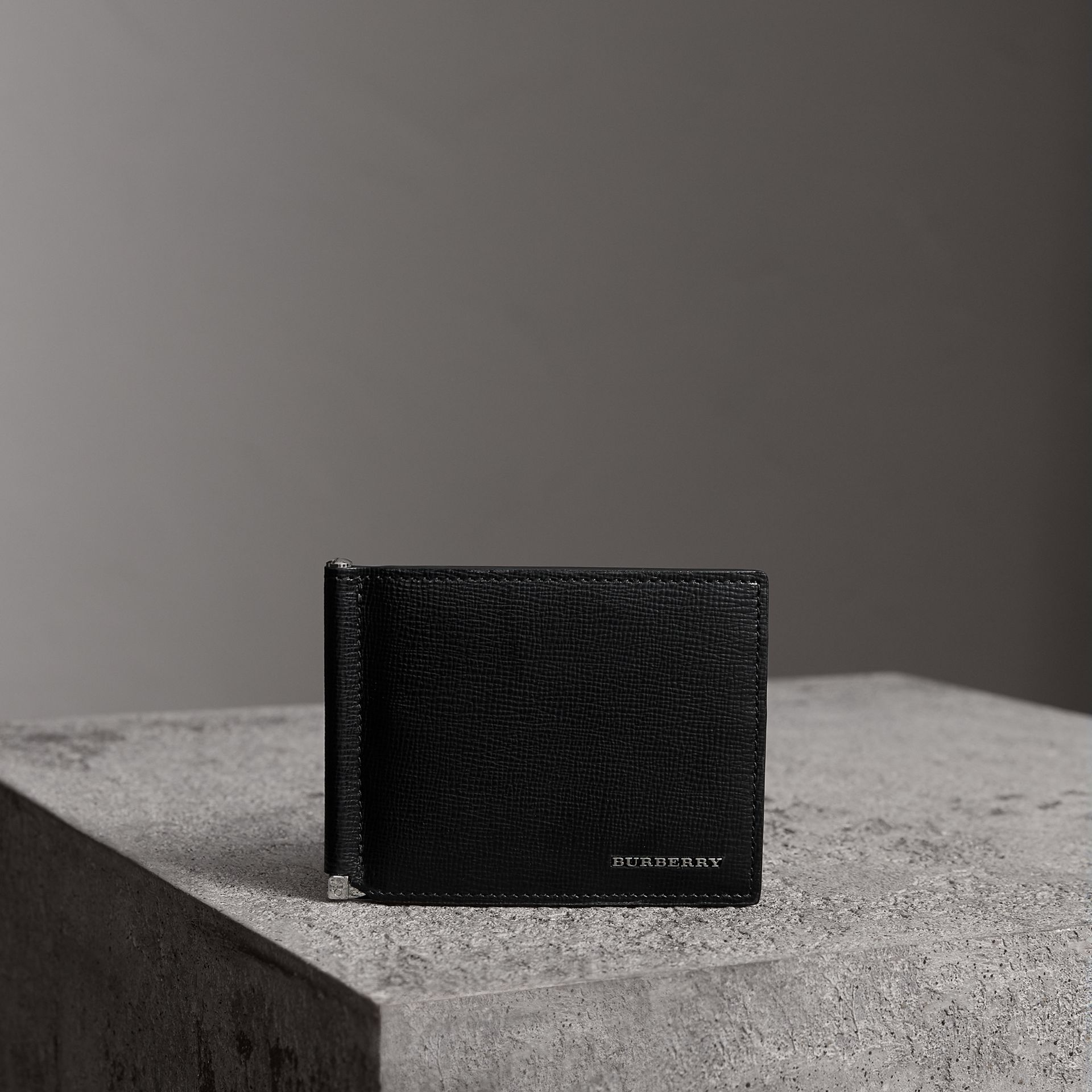 London Leather Money Clip Card Wallet in Black - Men | Burberry United Kingdom - gallery image 0