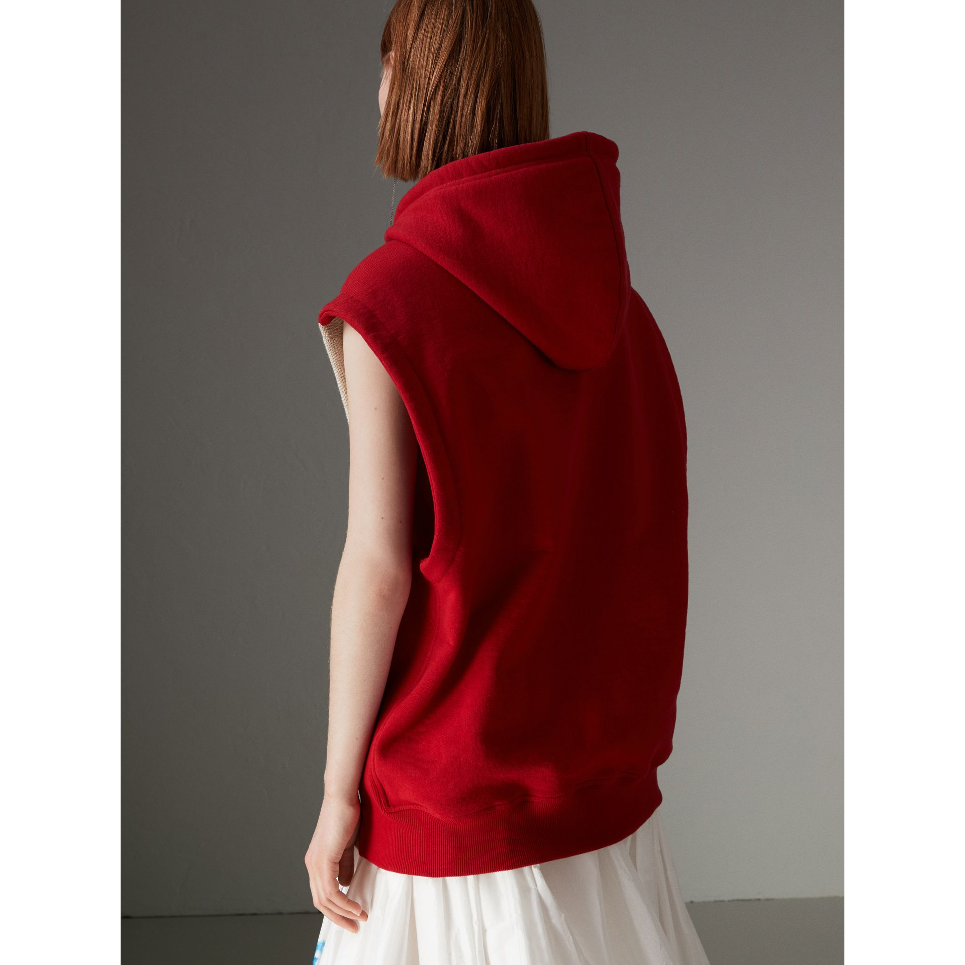 Raven Intarsia Sleeveless Hoodie in Red - Women | Burberry - gallery image 2