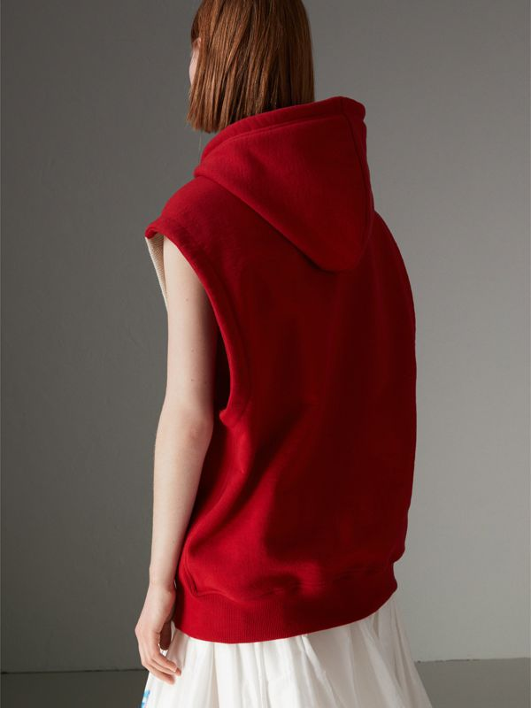 Raven Intarsia Sleeveless Hoodie in Red - Women | Burberry - cell image 2