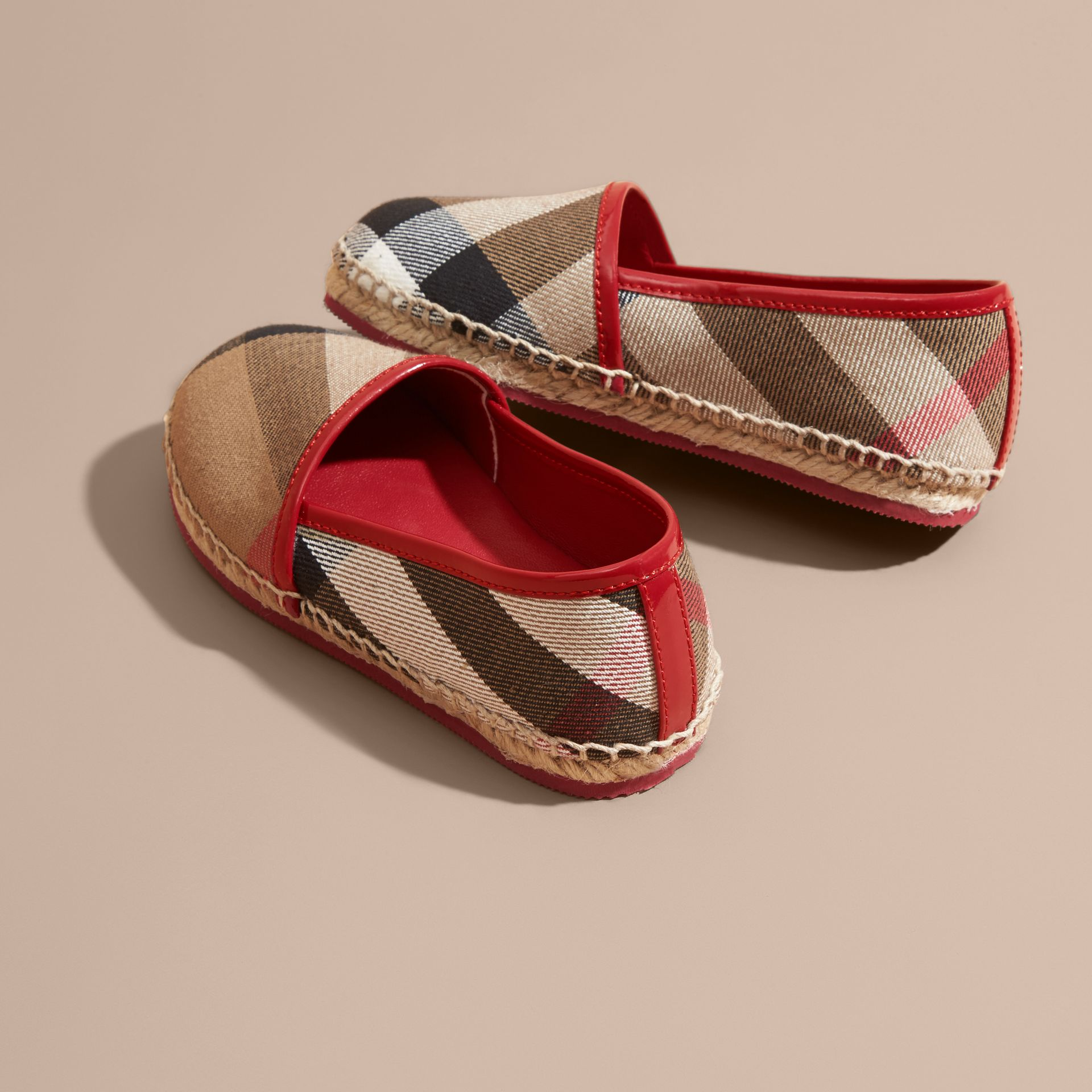 Leather and House Check Espadrilles Berry Pink - gallery image 4