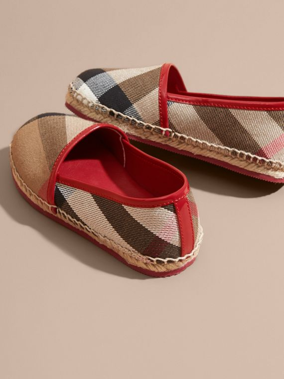 Leather and House Check Espadrilles Berry Pink - cell image 3