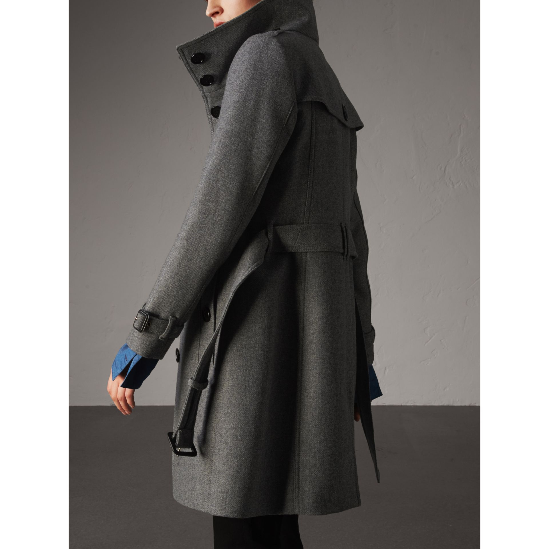 Technical Wool Cashmere Funnel Neck Coat in Steel Grey Melange - Women | Burberry Singapore - gallery image 3