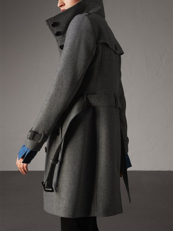 Technical Wool Cashmere Funnel Neck Coat in Steel Grey Melange - Women | Burberry Singapore - cell image 2