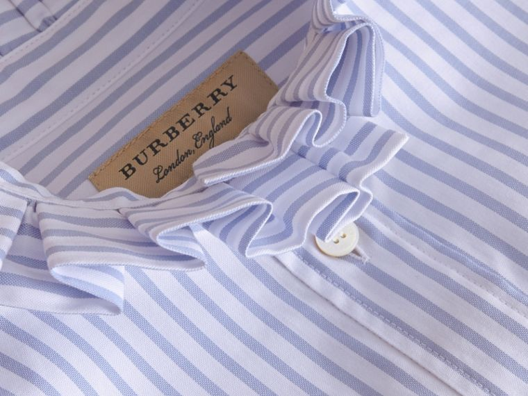 Ruffle Detail Striped Cotton Shirt - cell image 1