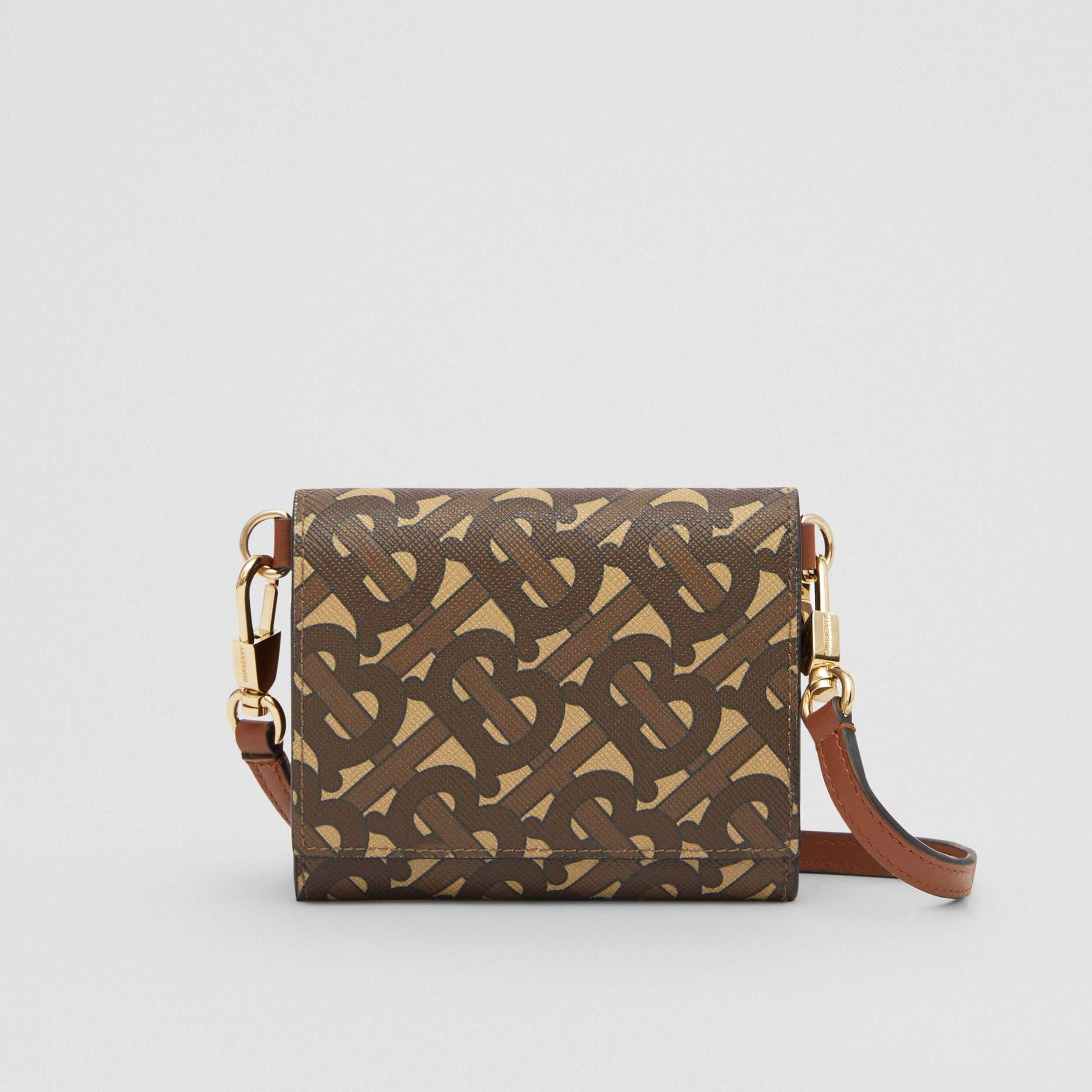 Small Monogram Print Wallet with Detachable Strap in Bridle Brown | Burberry - 1