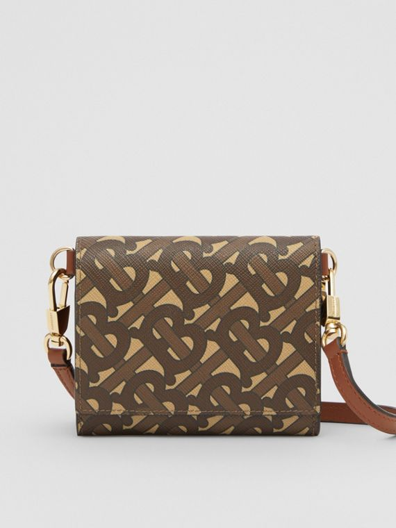 Small Monogram Print Wallet with Detachable Strap in Bridle Brown