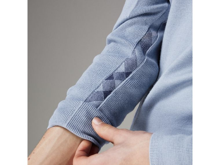 Check Detail Merino Wool Sweater in Stone Blue - Men | Burberry - cell image 1