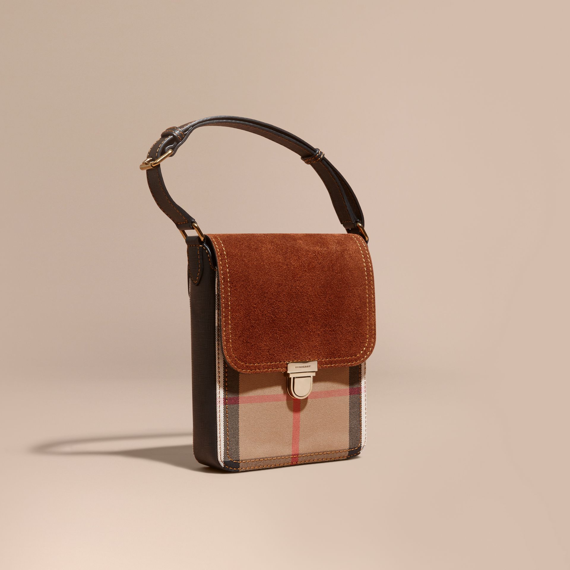 Russet brown The Small Satchel in English Suede and House Check Russet Brown - gallery image 1