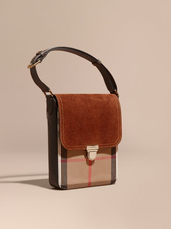 The Satchel piccola con pelle scamosciata inglese e motivo House check Marrone Ruggine