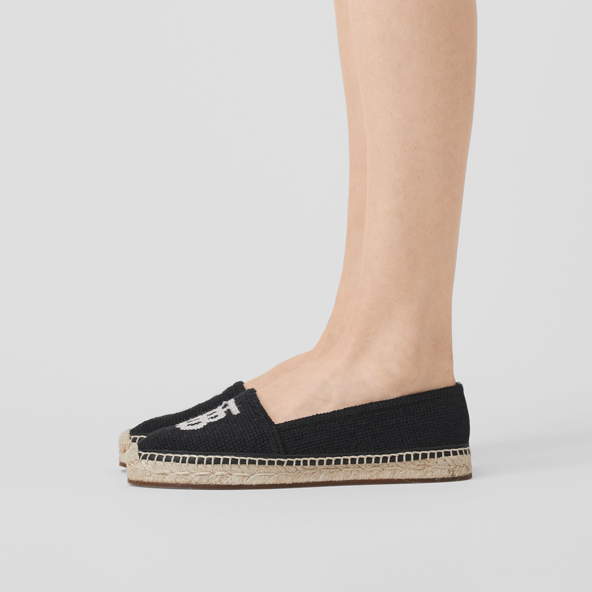 Monogram Motif Cotton and Leather Espadrilles in Black/ecru - Women | Burberry Australia - gallery image 2