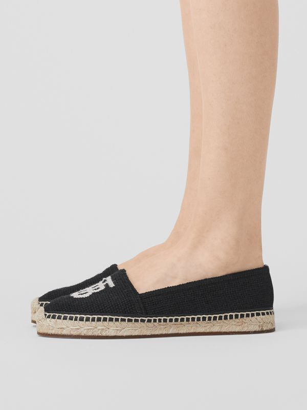 Monogram Motif Cotton and Leather Espadrilles in Black/ecru - Women | Burberry Australia - cell image 2