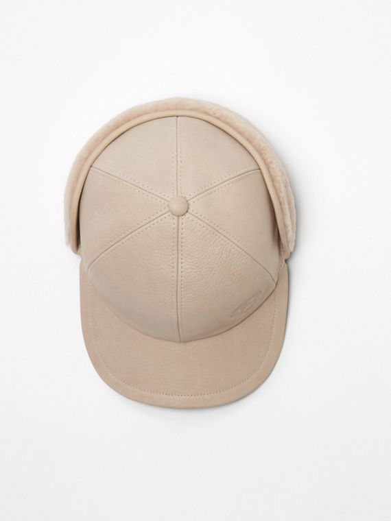 Leather and Shearling Cap in Limestone 3e11cf38a08