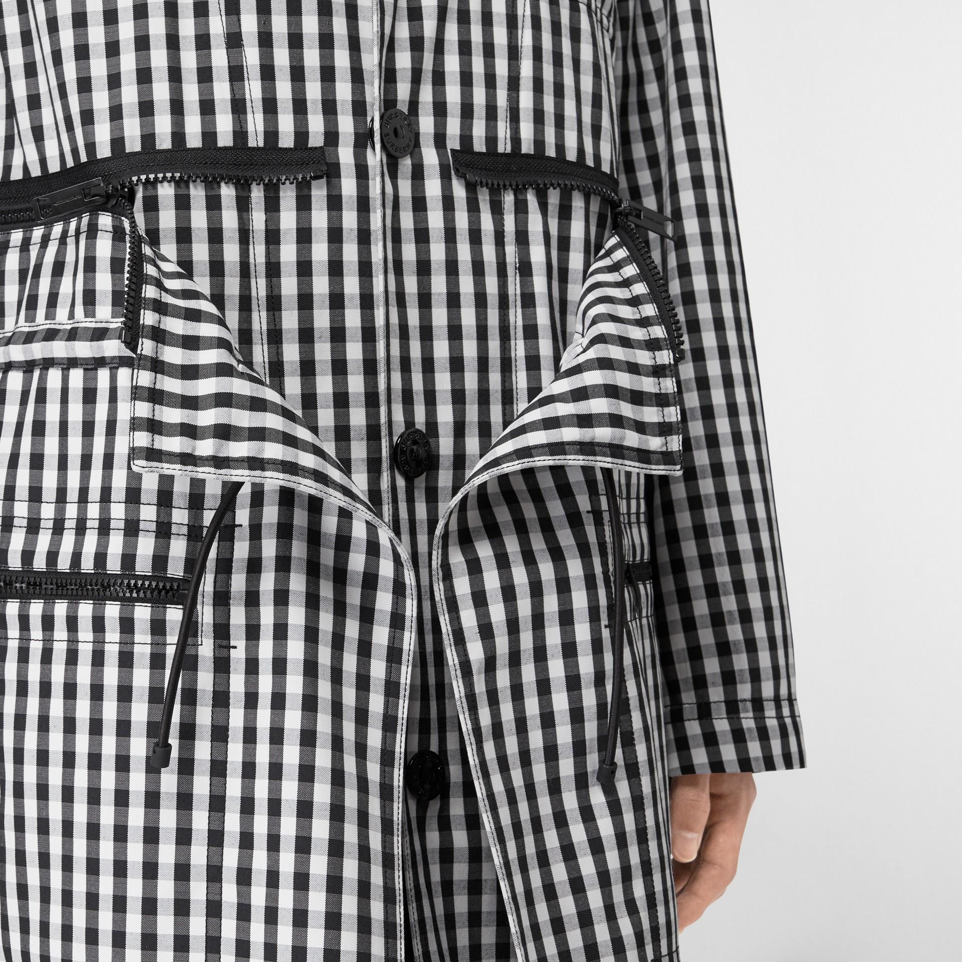 Gingham Technical Wool Loop-back Car Coat in Black | Burberry Canada - gallery image 4