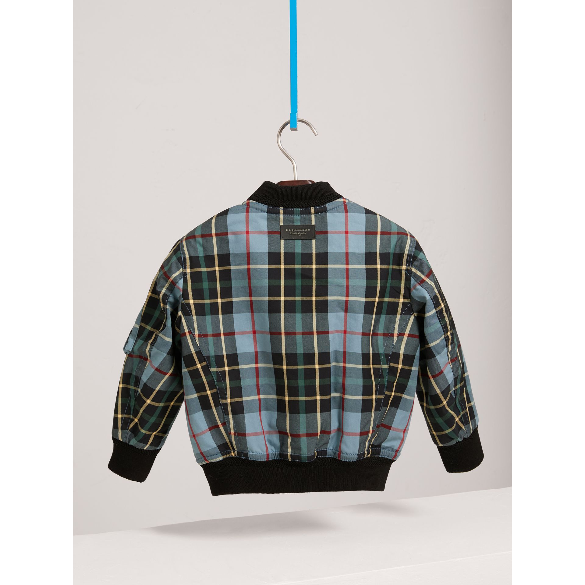 Quilted Tartan Cotton Gabardine Bomber Jacket in Cyan Blue - Boy | Burberry - gallery image 3