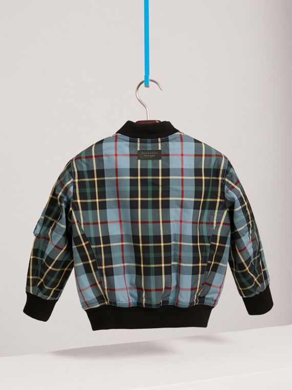 Quilted Tartan Cotton Gabardine Bomber Jacket in Cyan Blue - Boy | Burberry - cell image 3