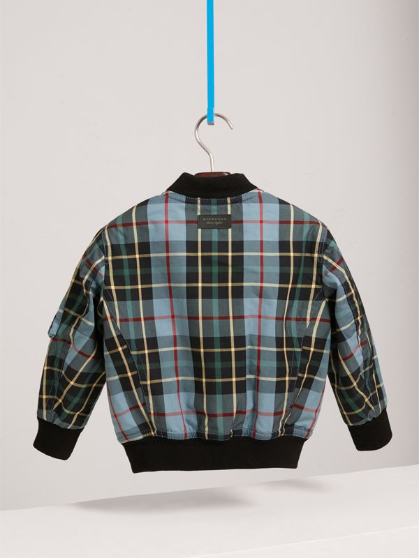 Quilted Tartan Cotton Gabardine Bomber Jacket in Cyan Blue | Burberry United Kingdom - cell image 3