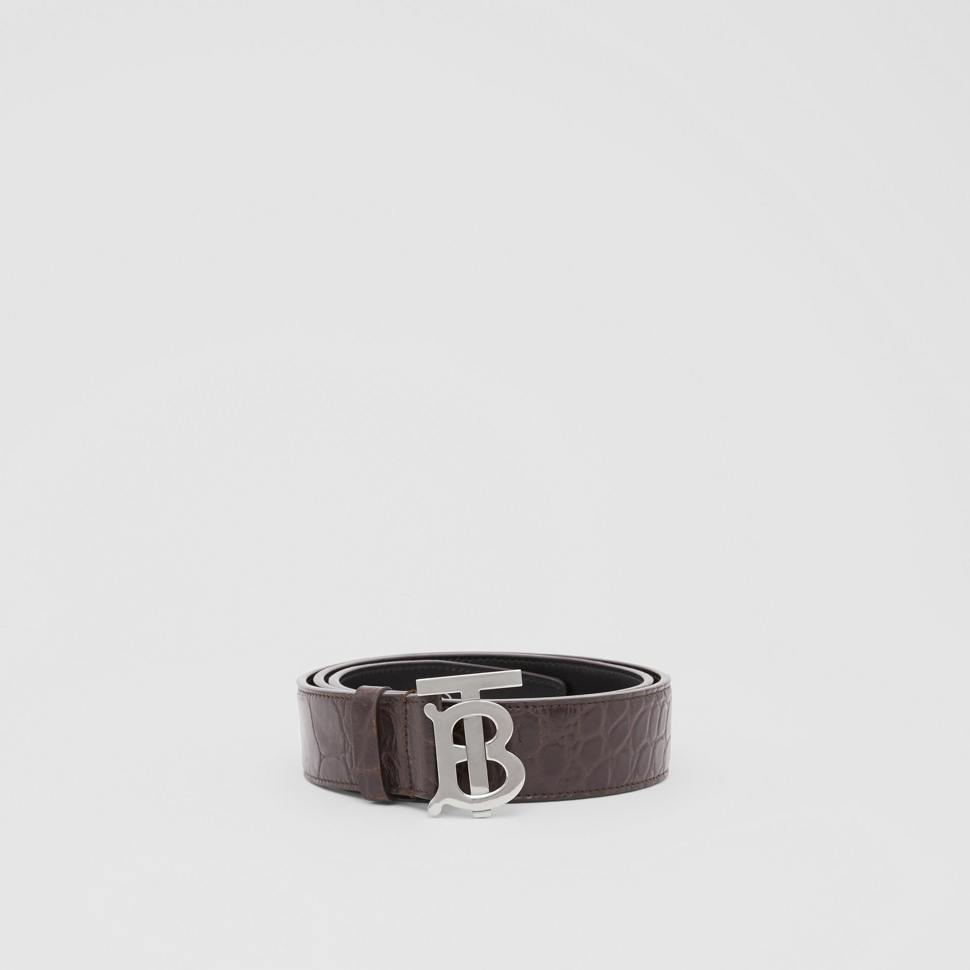 Monogram Motif Embossed Leather Belt in Brown - Men | Burberry United Kingdom - gallery image 3