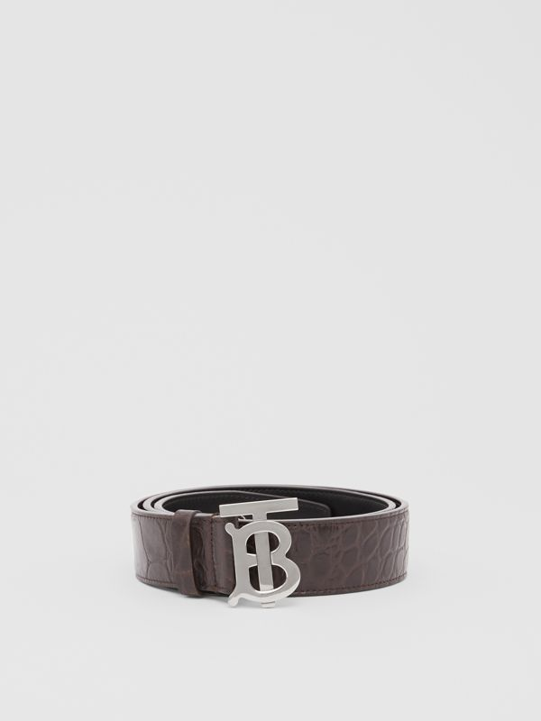 Monogram Motif Embossed Leather Belt in Brown - Men | Burberry - cell image 3
