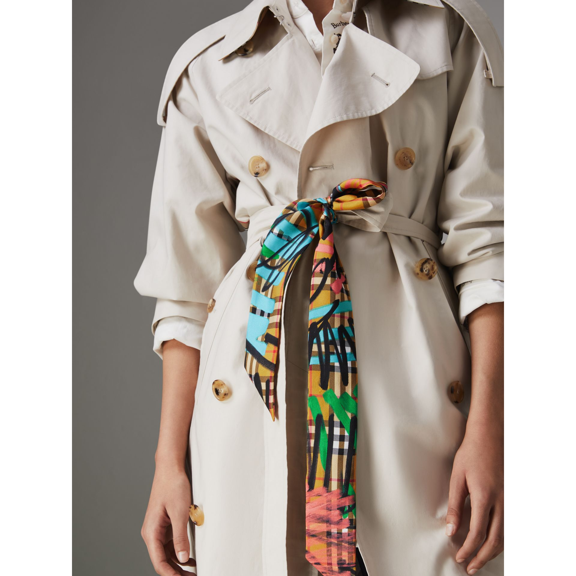 Graffiti Vintage Check Silk Slim Scarf in Antique Yellow - Women | Burberry Singapore - gallery image 3
