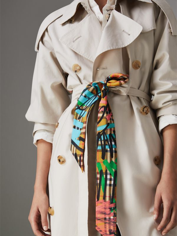 Graffiti Vintage Check Silk Skinny Scarf in Antique Yellow - Women | Burberry - cell image 3