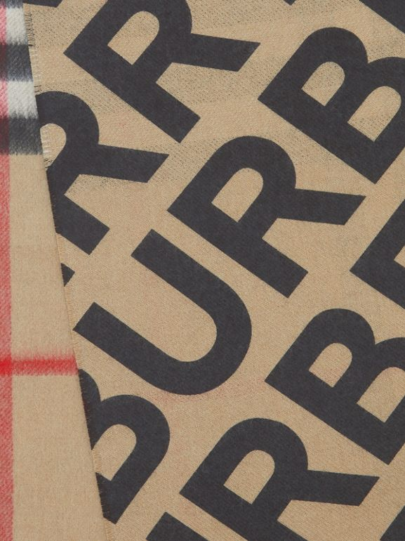 Logo Print Check Cashmere Scarf in Black | Burberry Singapore - cell image 1
