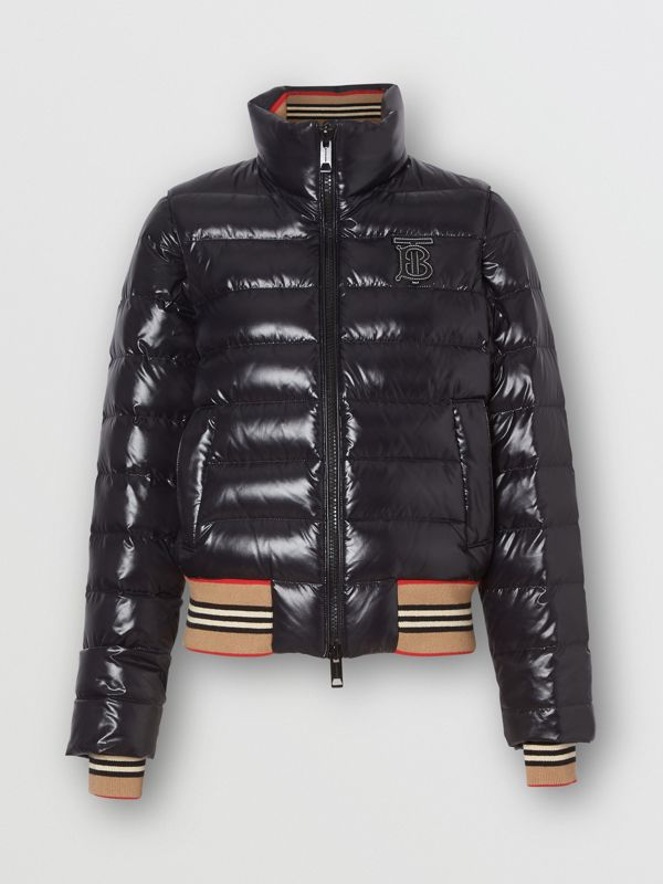 Detachable Sleeve Icon Stripe Detail Puffer Jacket in Black - Women | Burberry Australia - cell image 3