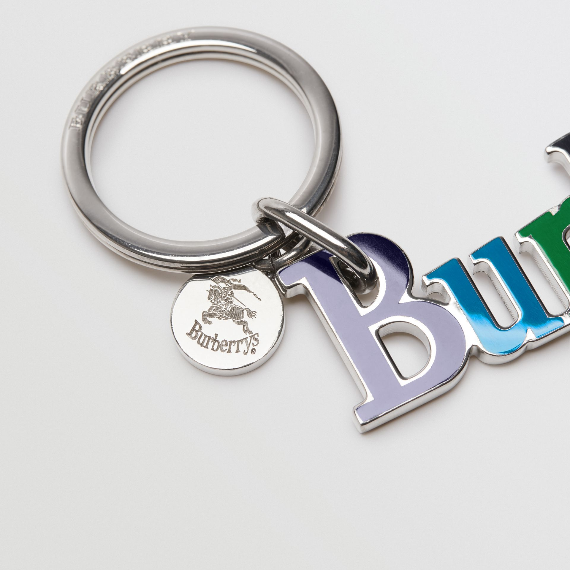 Archive Logo Key Charm in Blue | Burberry Australia - gallery image 1