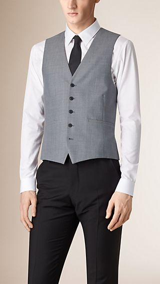 Modern Fit Wool and Satin Panel Waistcoat