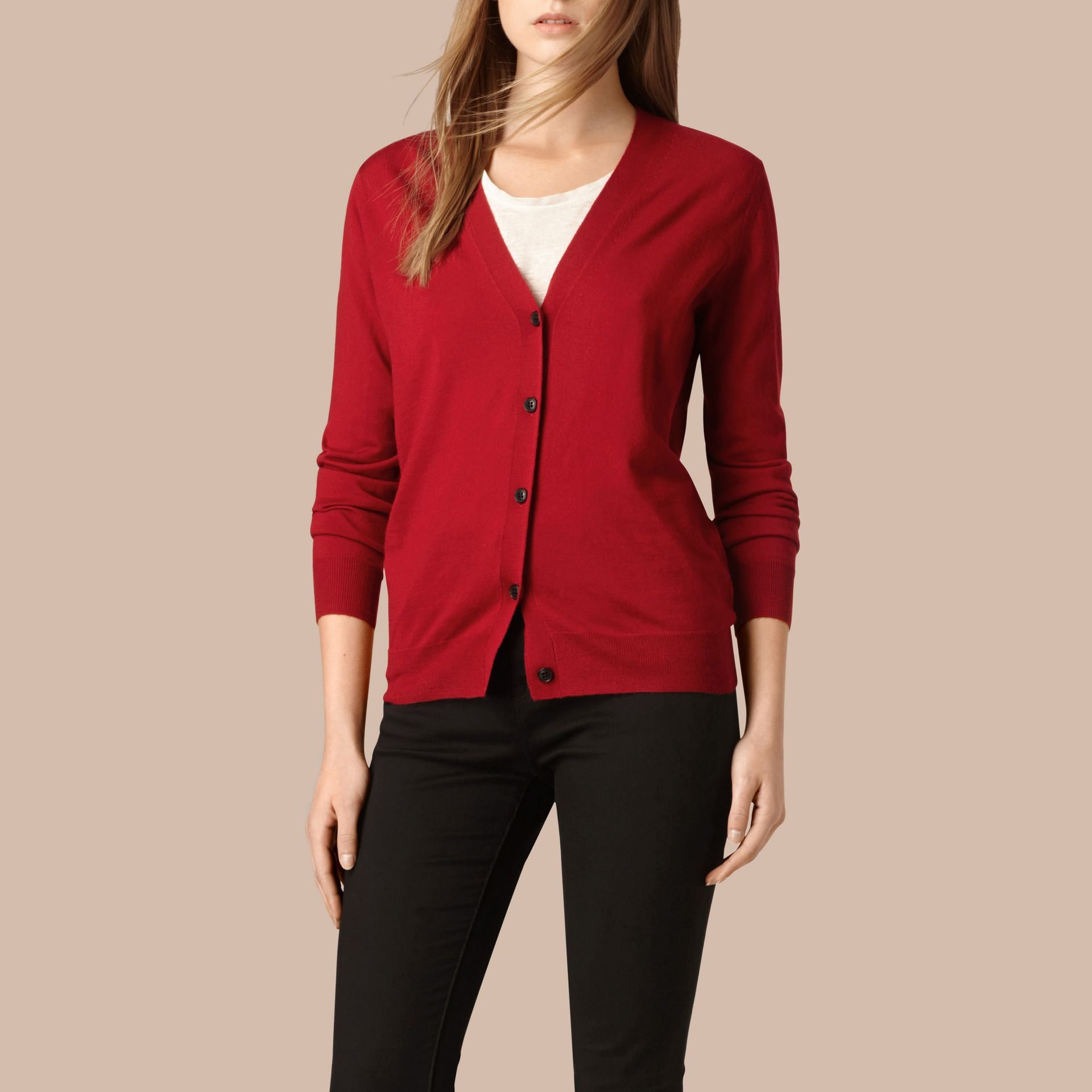 Check Detail Merino Wool Cardigan in Parade Red - gallery image 4