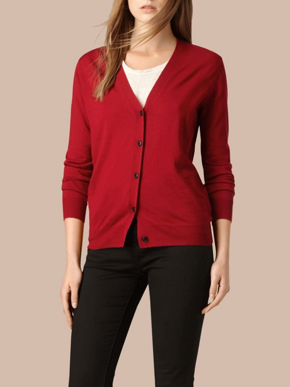 Check Detail Merino Wool Cardigan in Parade Red - cell image 3