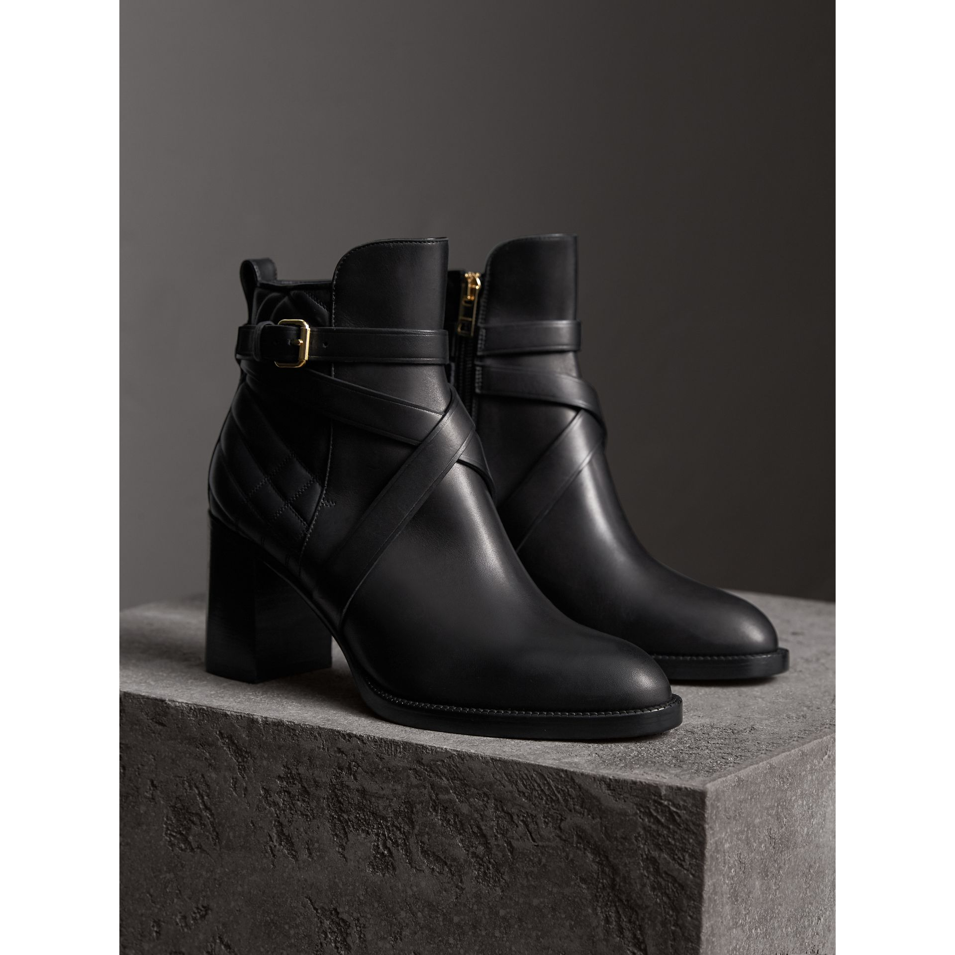 Strap Detail Quilted Leather Ankle Boots in Black - Women | Burberry - gallery image 5