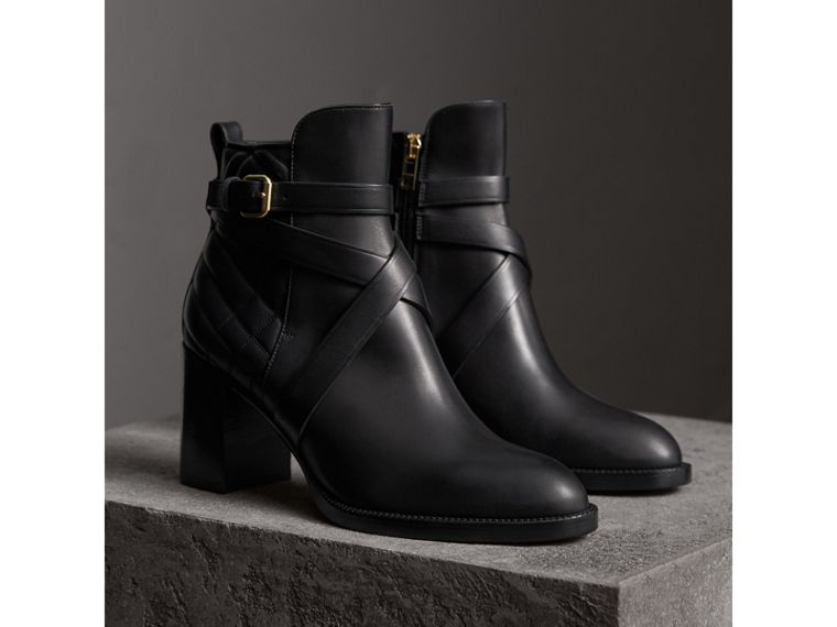 Strap Detail Quilted Leather Ankle Boots in Black - Women | Burberry United States - cell image 4