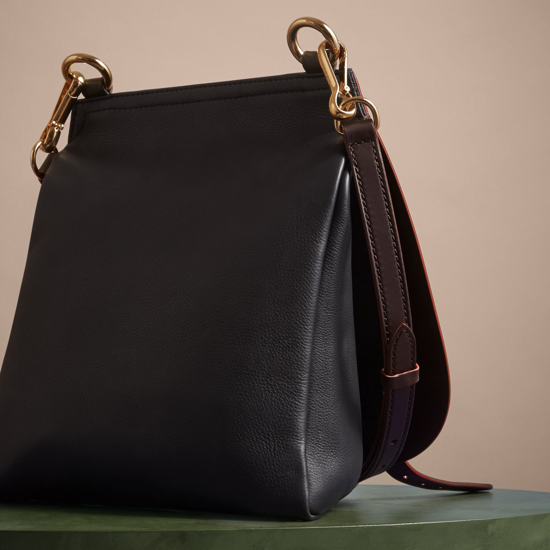 The Small Bridle Bag in Leather in Wine - Men | Burberry - gallery image 4