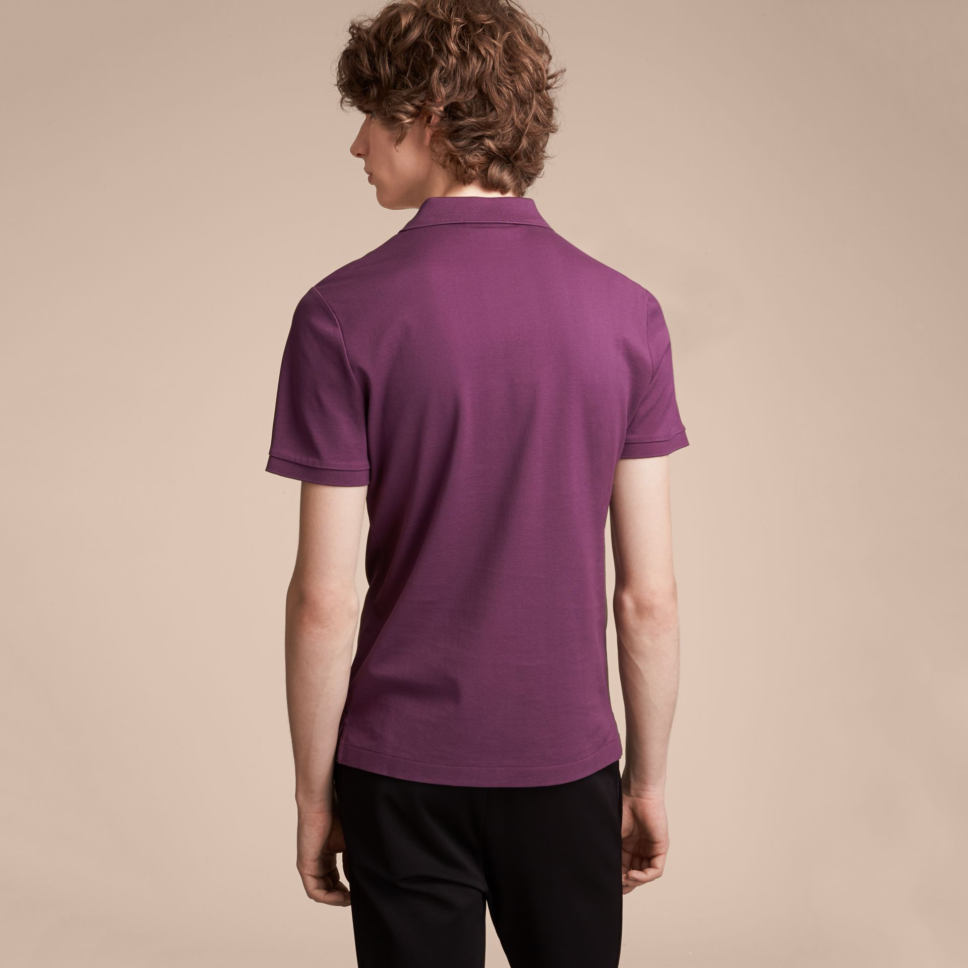 Cotton Piqué Polo Shirt in Heather - Men | Burberry - gallery image 3
