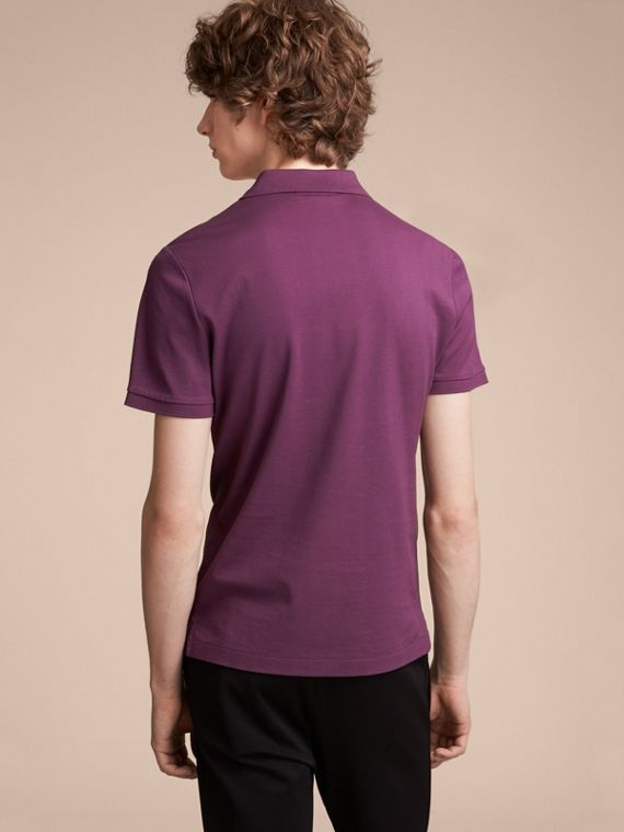 Cotton Piqué Polo Shirt in Heather - Men | Burberry Australia - cell image 2