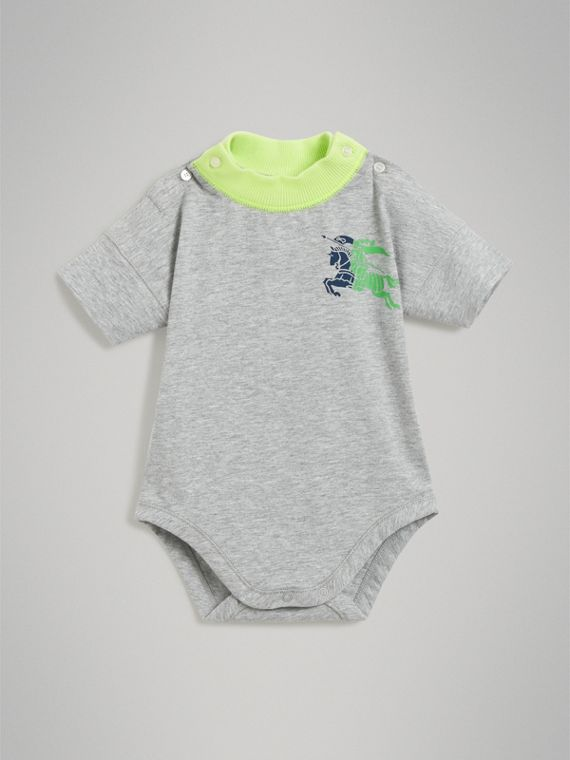 Equestrian Knight Print Cotton Bodysuit in Lime