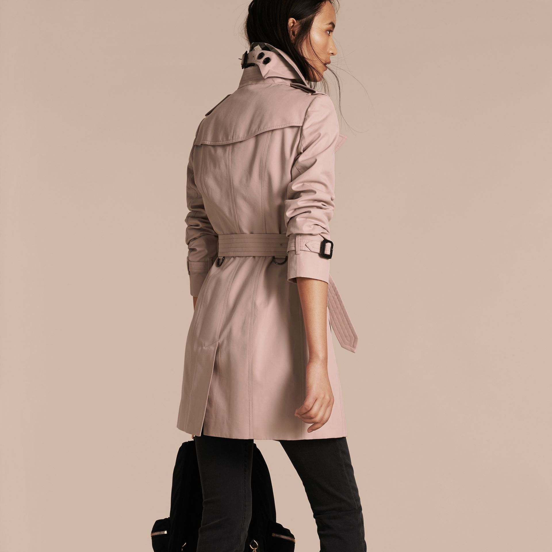 Ice pink Cotton Gabardine Trench Coat - gallery image 3
