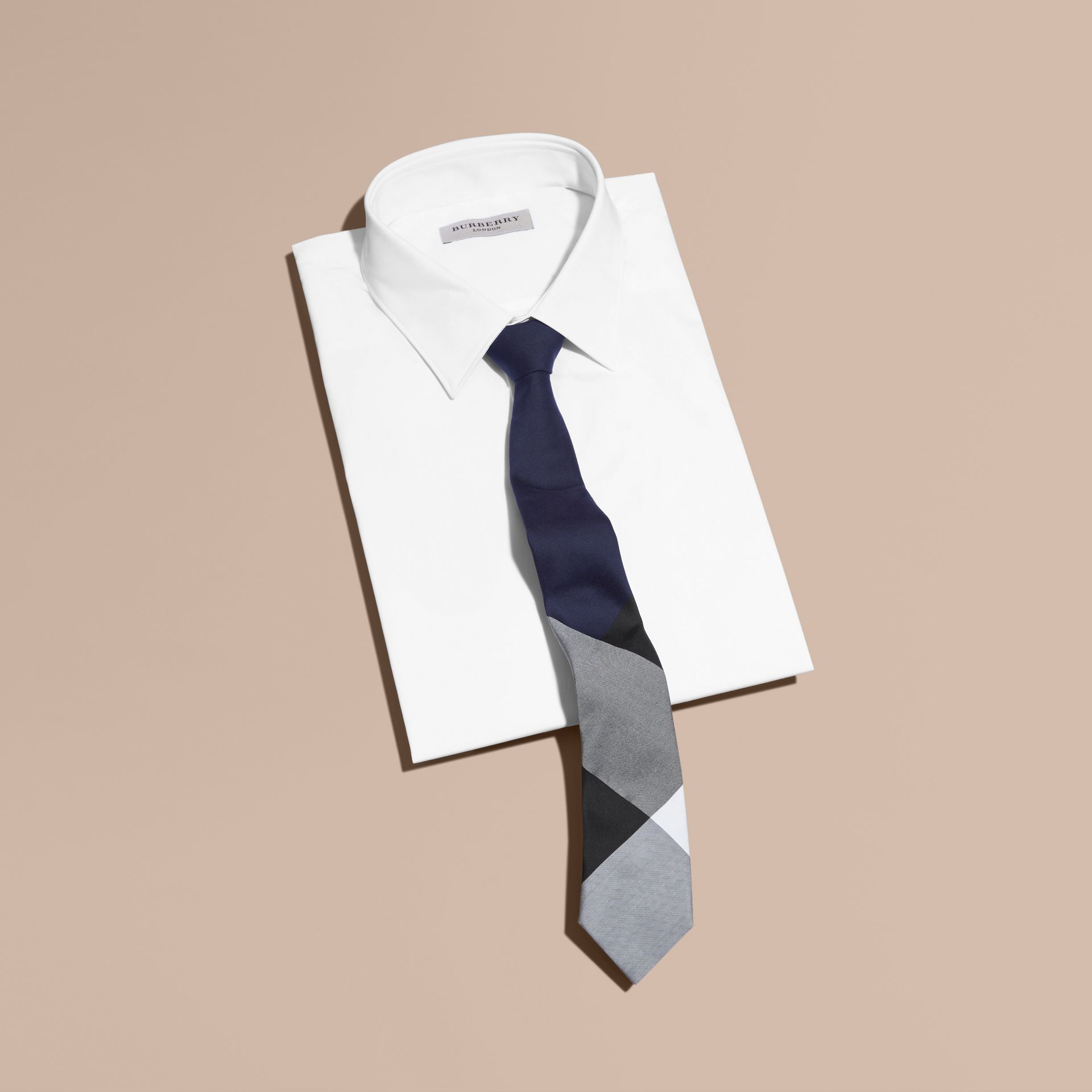 Navy Slim Cut Check Silk Cotton Tie Navy - gallery image 3