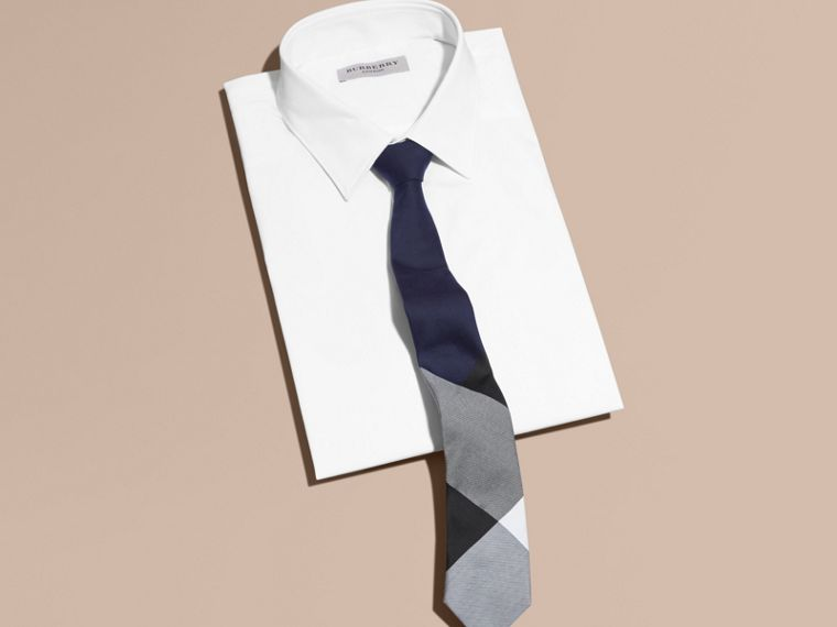 Navy Slim Cut Check Silk Cotton Tie Navy - cell image 2