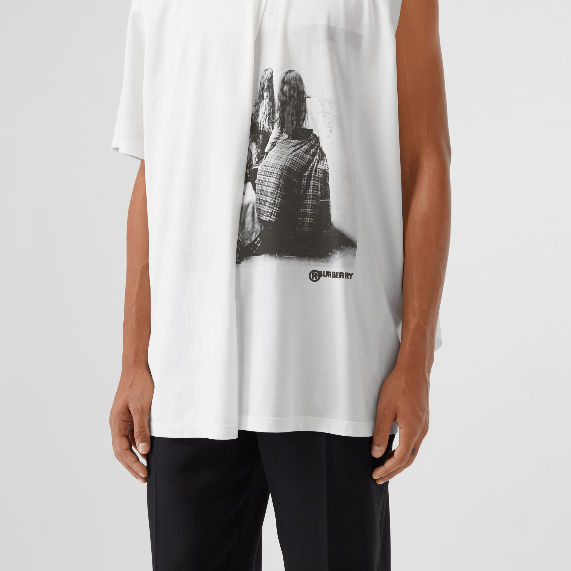 Victorian Portrait Print Cotton Oversized T-shirt in Optic White | Burberry - gallery image 1