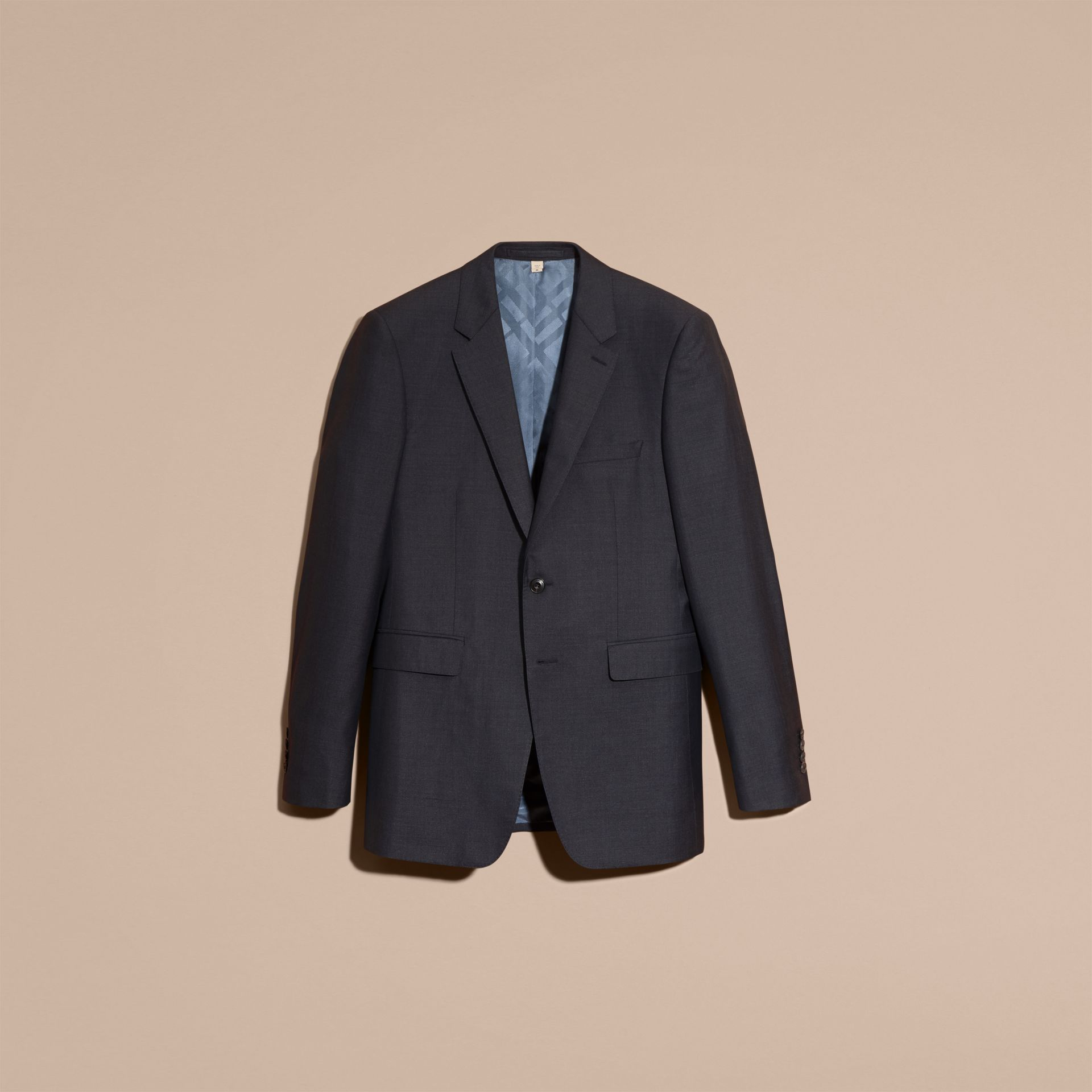 Dark pewter blue Modern Fit Wool Silk Half-canvas Suit - gallery image 4