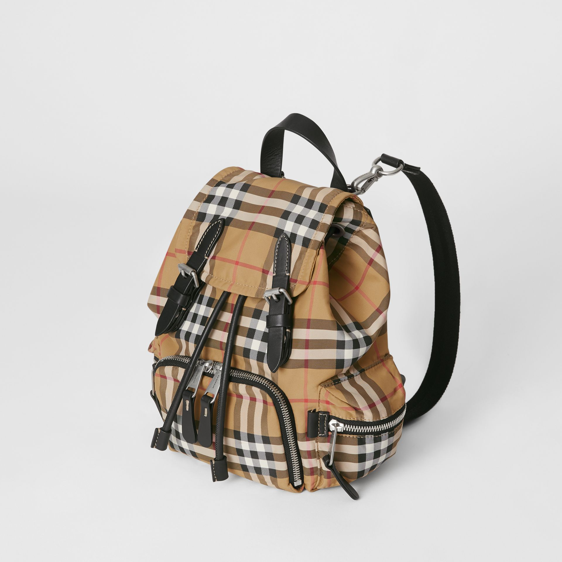 Petit sac The Rucksack à bandoulière avec motif Vintage check (Jaune Antique) - Femme | Burberry - photo de la galerie 3
