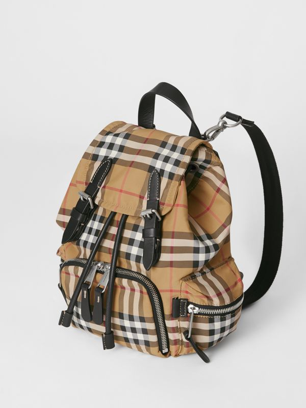 The Small Crossbody Rucksack in Vintage Check in Antique Yellow - Women | Burberry Hong Kong S.A.R - cell image 3