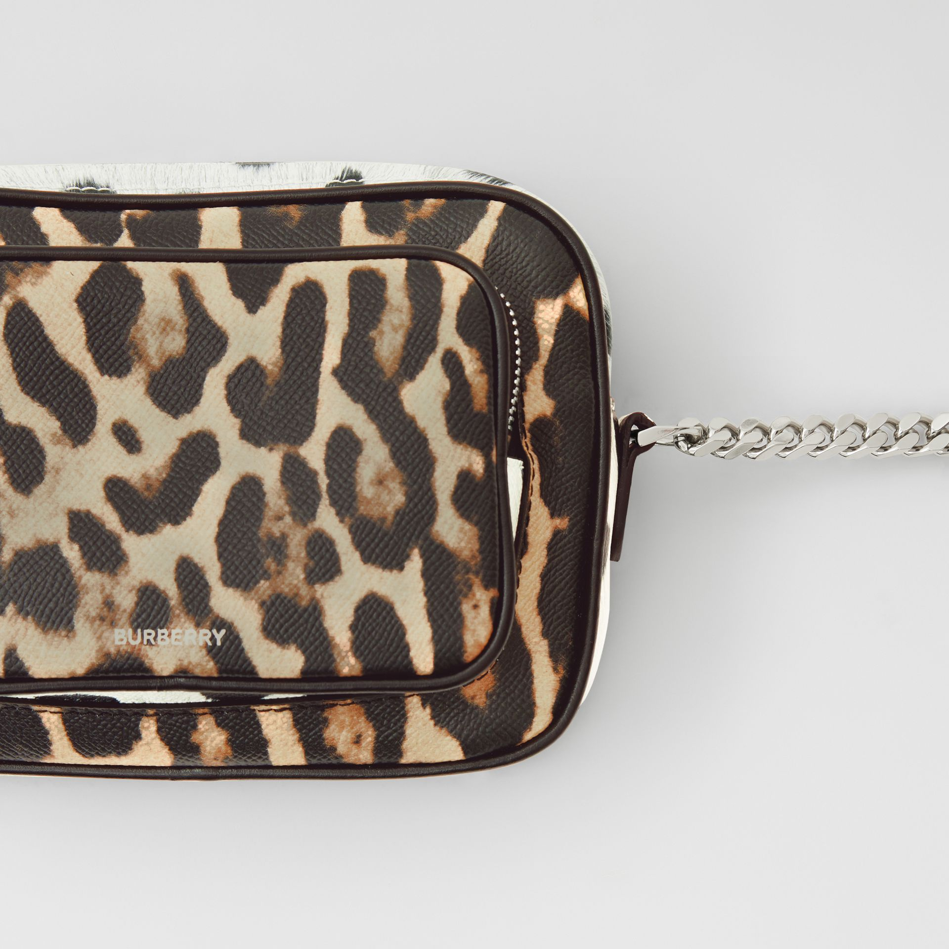 Animal Print Leather Camera Bag in Honey/black - Women | Burberry United Kingdom - gallery image 1